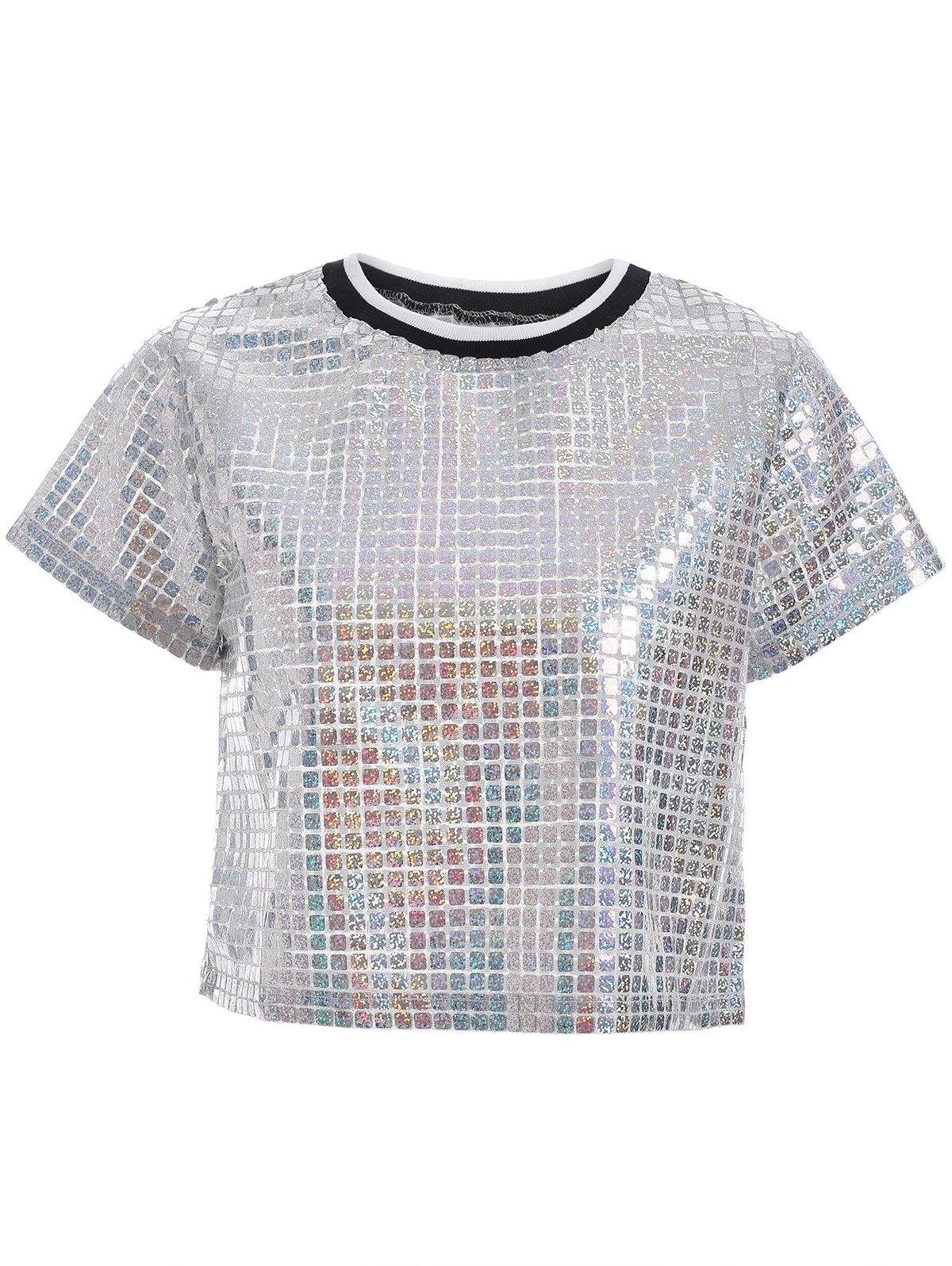 Vintage Silver Color Glitter Plaid Crop Top - SILVER XL