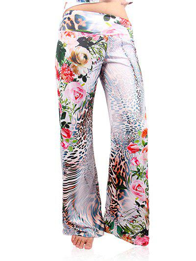 Fashionable Women's Leopard Print Wide-Leg Exumas Pants - WHITE 2XL