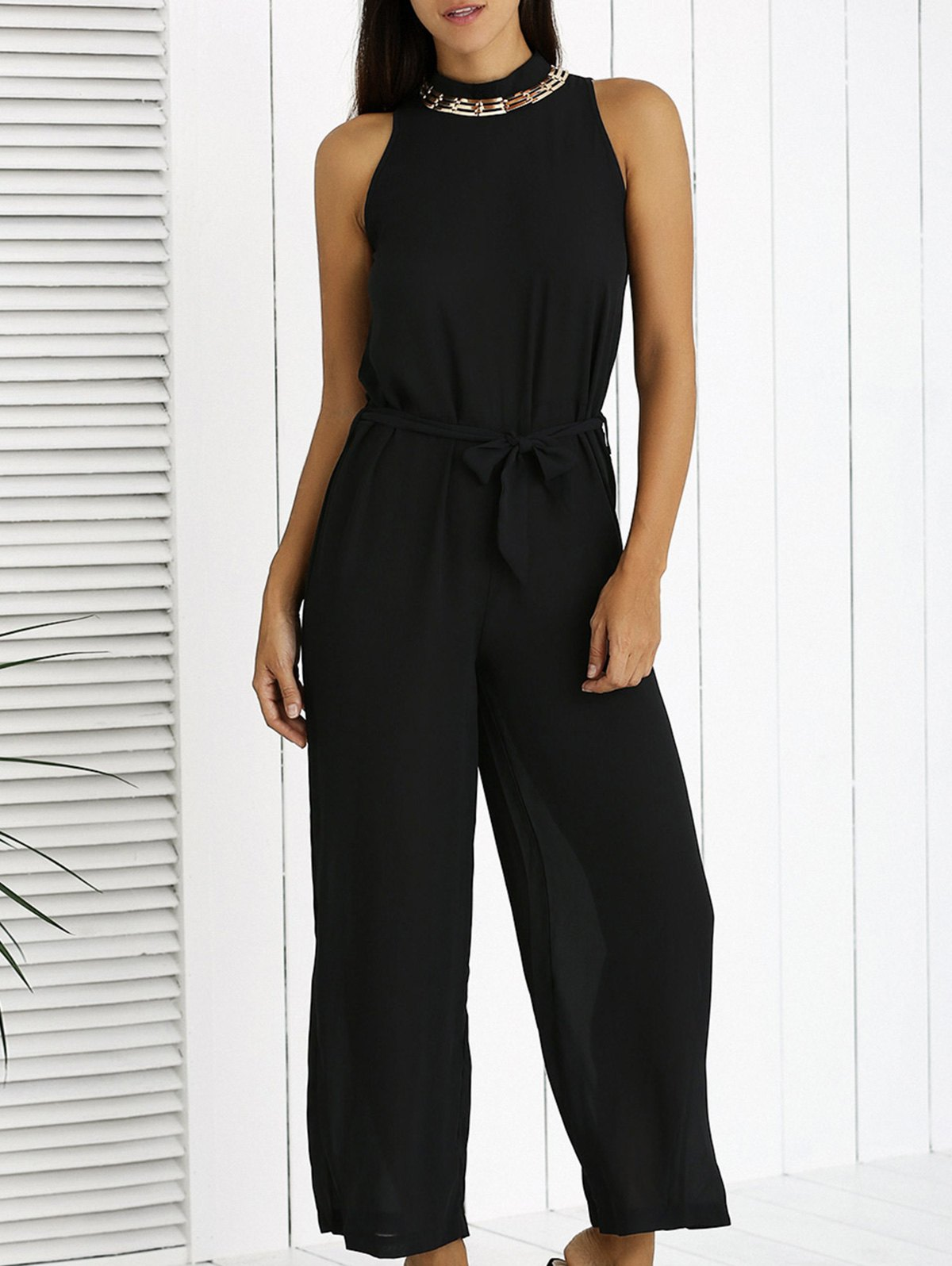 Elegant Bowknot Black Wide Leg Jumpsuit - BLACK L