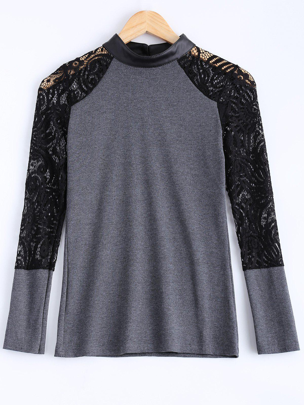 Lace PU Leather Knitted Top For Women - GRAY 2XL