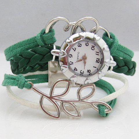 Hollow Out Leaf Strand Bracelet Watch love heart hollow out bracelet watch