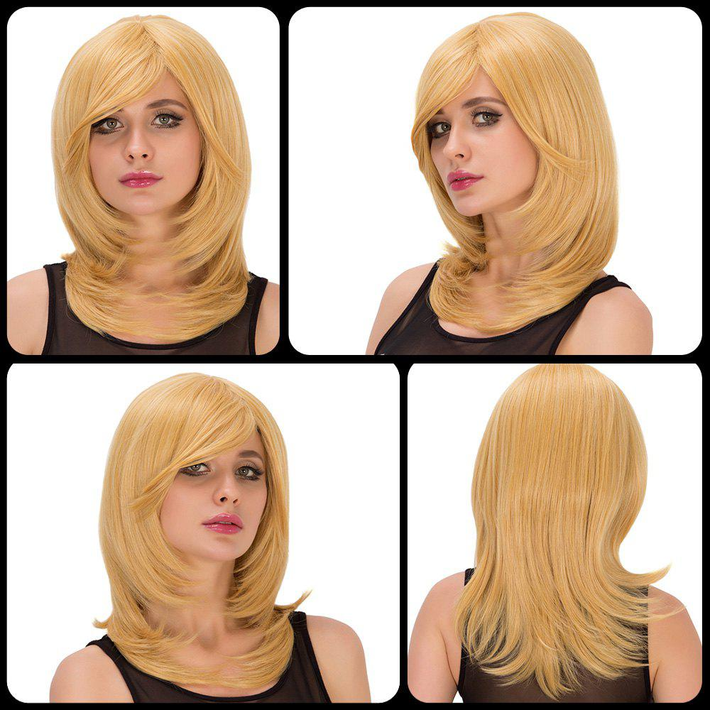 Tail Adduction Medium Golden Side Bang Fascinating Synthetic Wig For Women