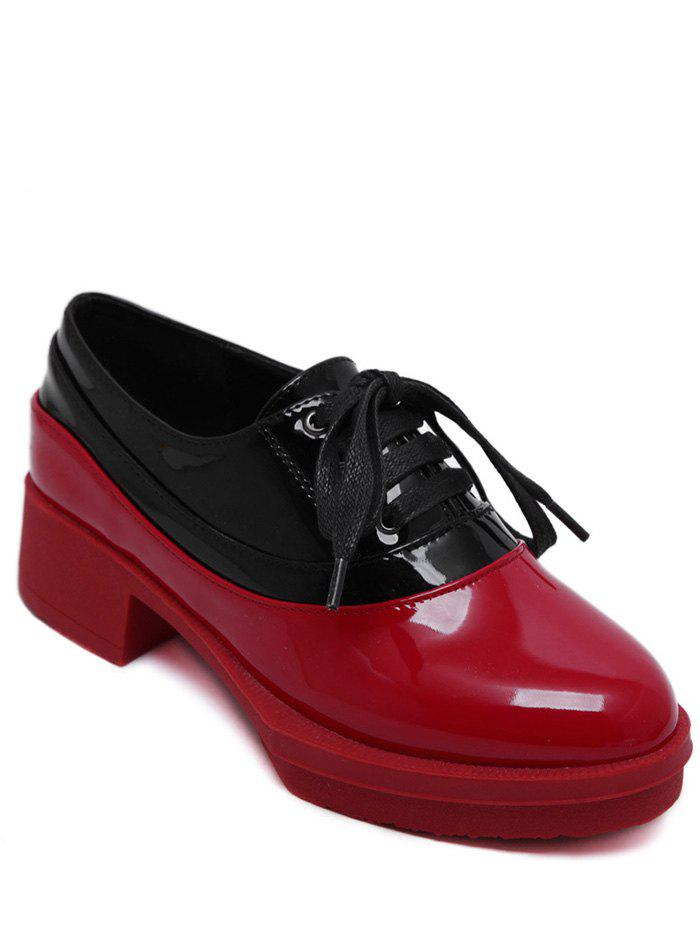 Trendy Tie Up and Colour Block Design Women's Platform Shoes - RED 39