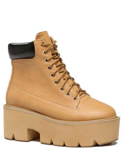 Fashion Platform and Tie Up Design Women's Short Boots - LIGHT BROWN 37
