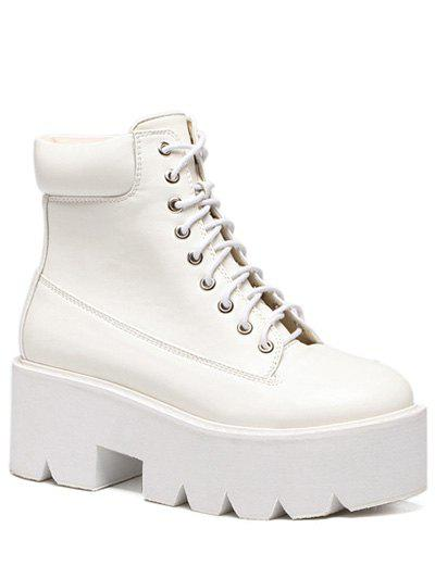 Fashion Platform and Tie Up Design Women's Short Boots - WHITE 39