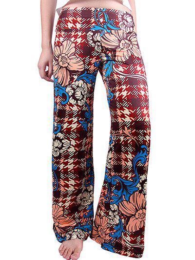 Retro Women's Plaid Flowers Print Exumas Pants