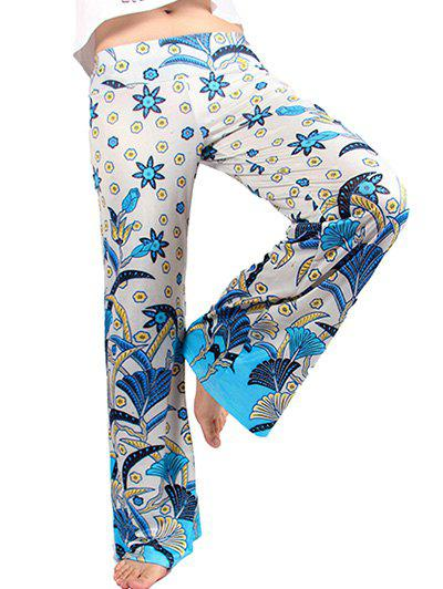 Stylish Women's Flowers Print Loose Exumas Pants - OFF WHITE 2XL