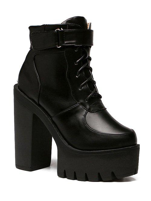 Stylish Chunky Heel and Lace-Up Design Women's Short Boots - BLACK 39