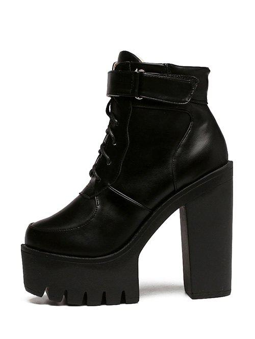 Stylish Chunky Heel and Lace-Up Design Women's Short Boots - BLACK 38