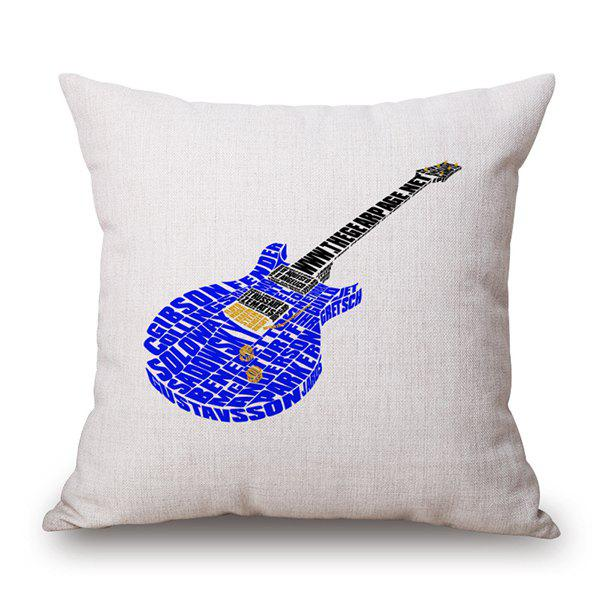 Guitar Print Waist Throw Linen Pillow Case - WHITE