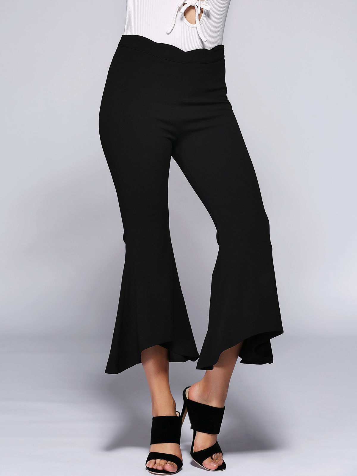 High Waist Slimming Bell Bottom Stretchy Pants - BLACK S