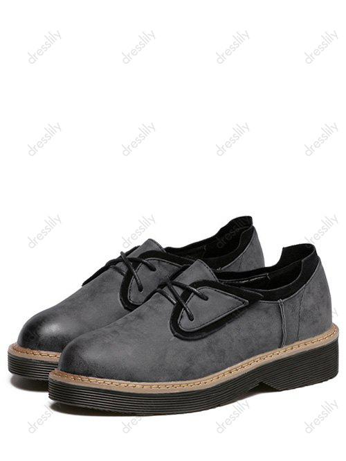 Stylish Tie Up and Splicing Design Women's Platform Shoes - BLACK 39