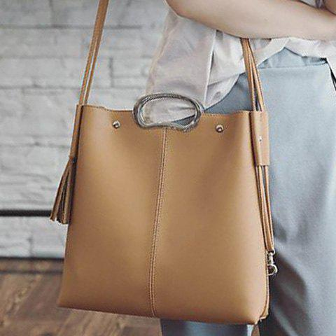 Concise Tassels and Color Scissor Design Women's Tote Bag - APRICOT