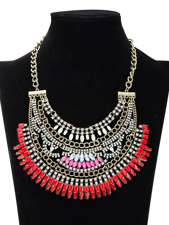 Hollow Out Rhinestoned Necklace - RED