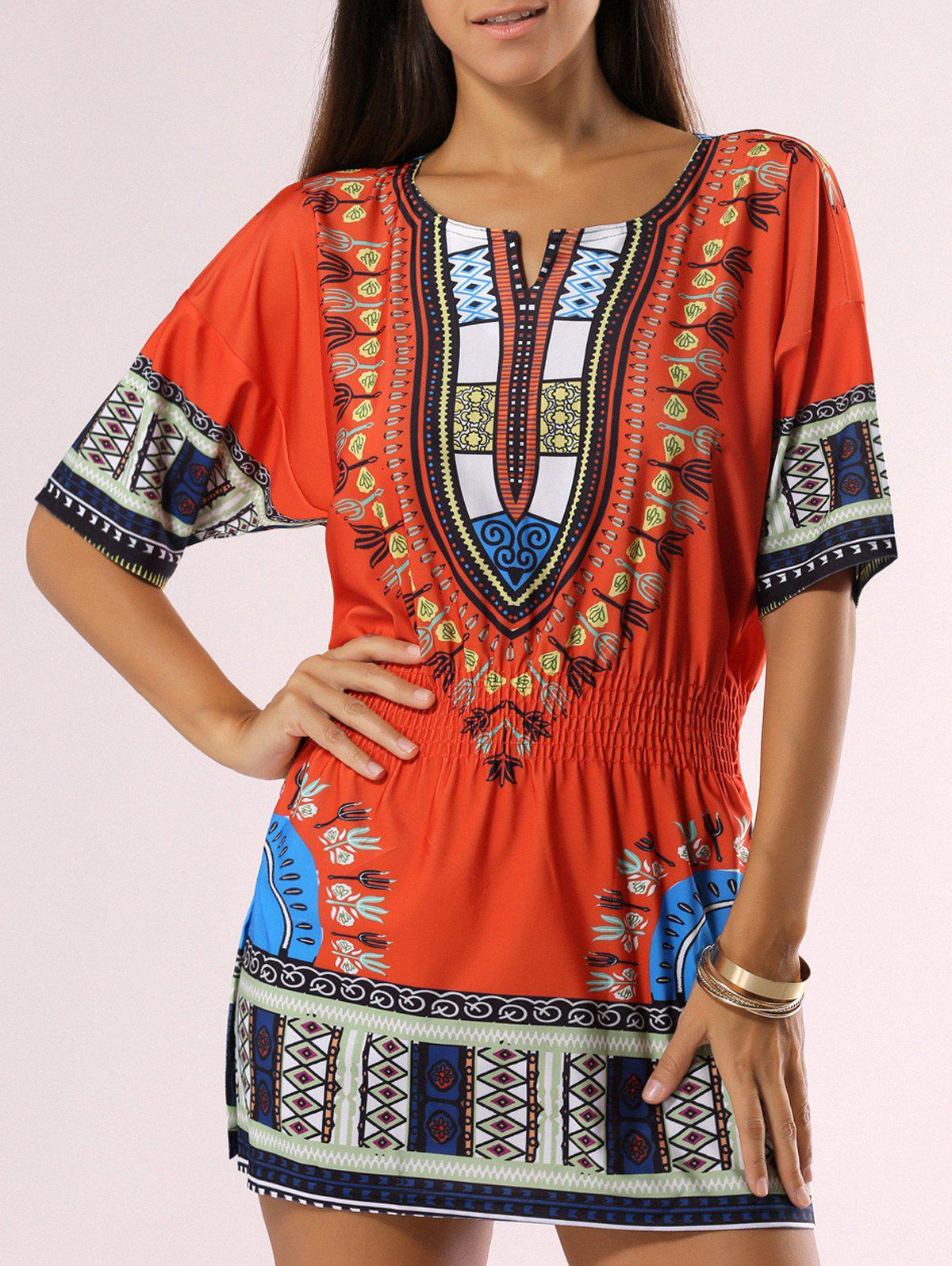 Bohemian Style Tribal Print Dress - ORANGE 2XL