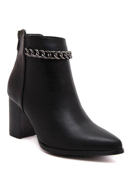 Trendy Black and Chain Design Women's Short Boots - BLACK 38