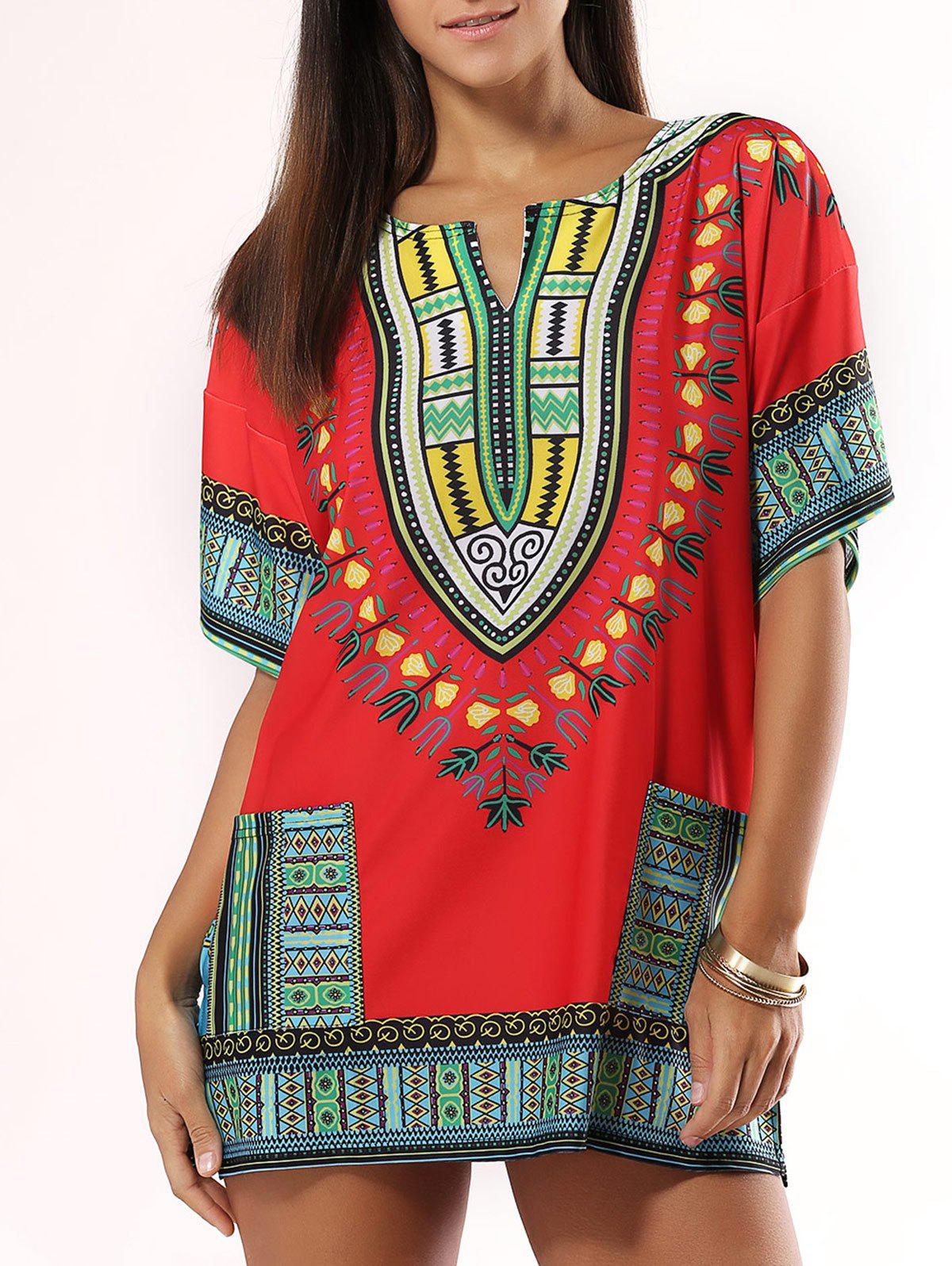 Bohemian Style Colorful Printed Dress - RED 2XL