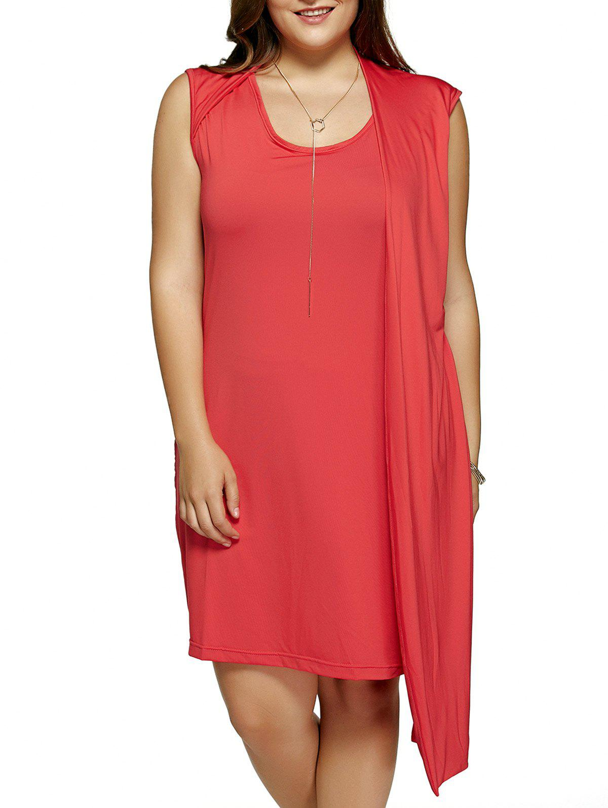 Plus Size One-Side Overlay Red Dress