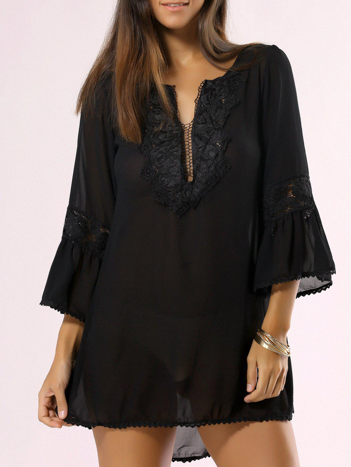 Guipure Light See Through Bathing Suit Cover-Up - BLACK L