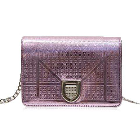 Trendy Hasp and Lattice Pattern Design Women's Crossbody Bag - PURPLE