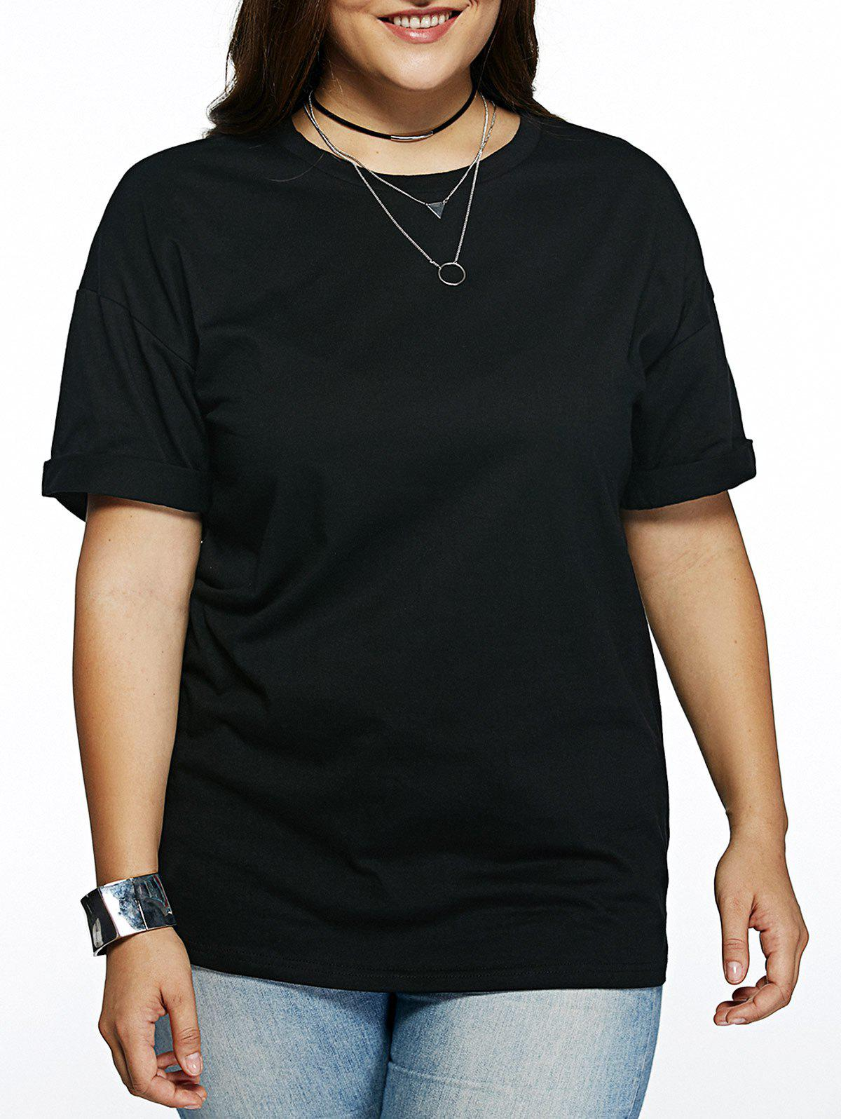 Plus Size Cuffed Sleeve Black T-Shirt