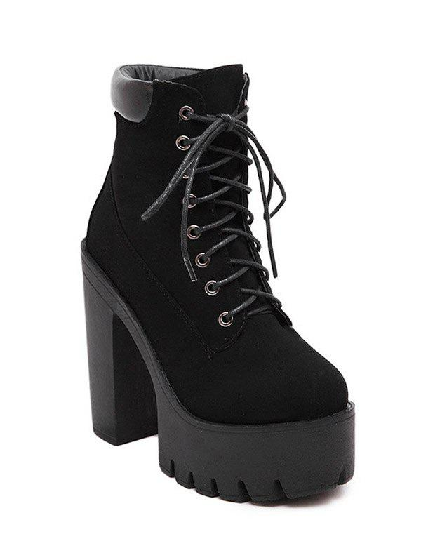Stylish Black and Lace-Up Design Women's Short Boots - BLACK 38