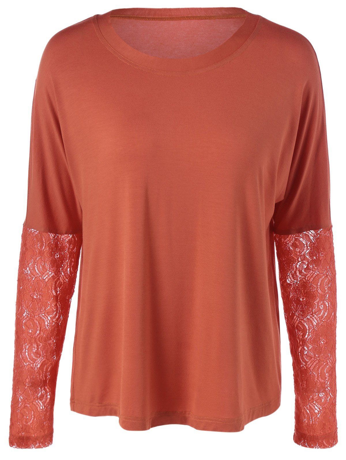 Solid Color Lace Patchwork T-Shirt - BRICK RED M