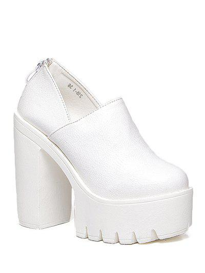 Stylish Platform and Zipper Design Women's Pumps - WHITE 39