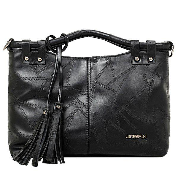 Punk Tassels and Stitching Design Women's Tote Bag - BLACK