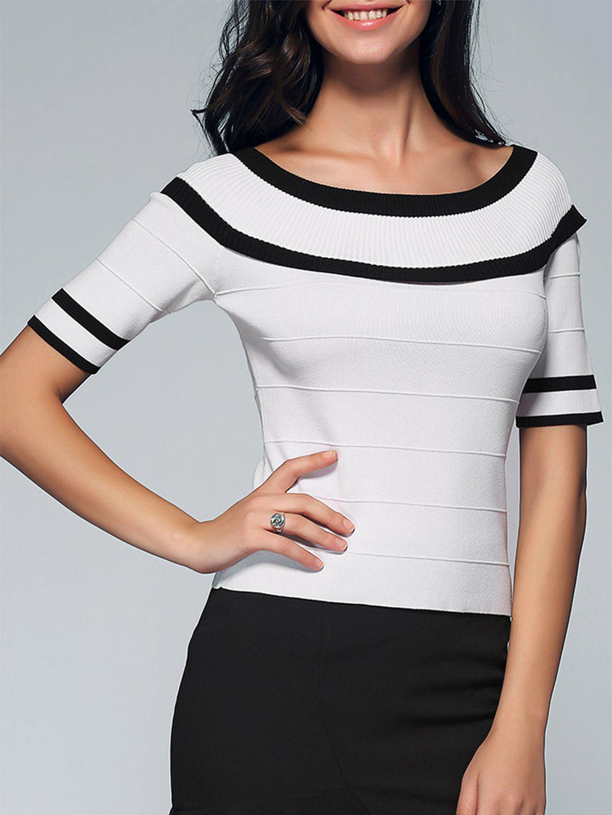 Chic Color Block Skinny Slimming Women's Knitwear - WHITE ONE SIZE