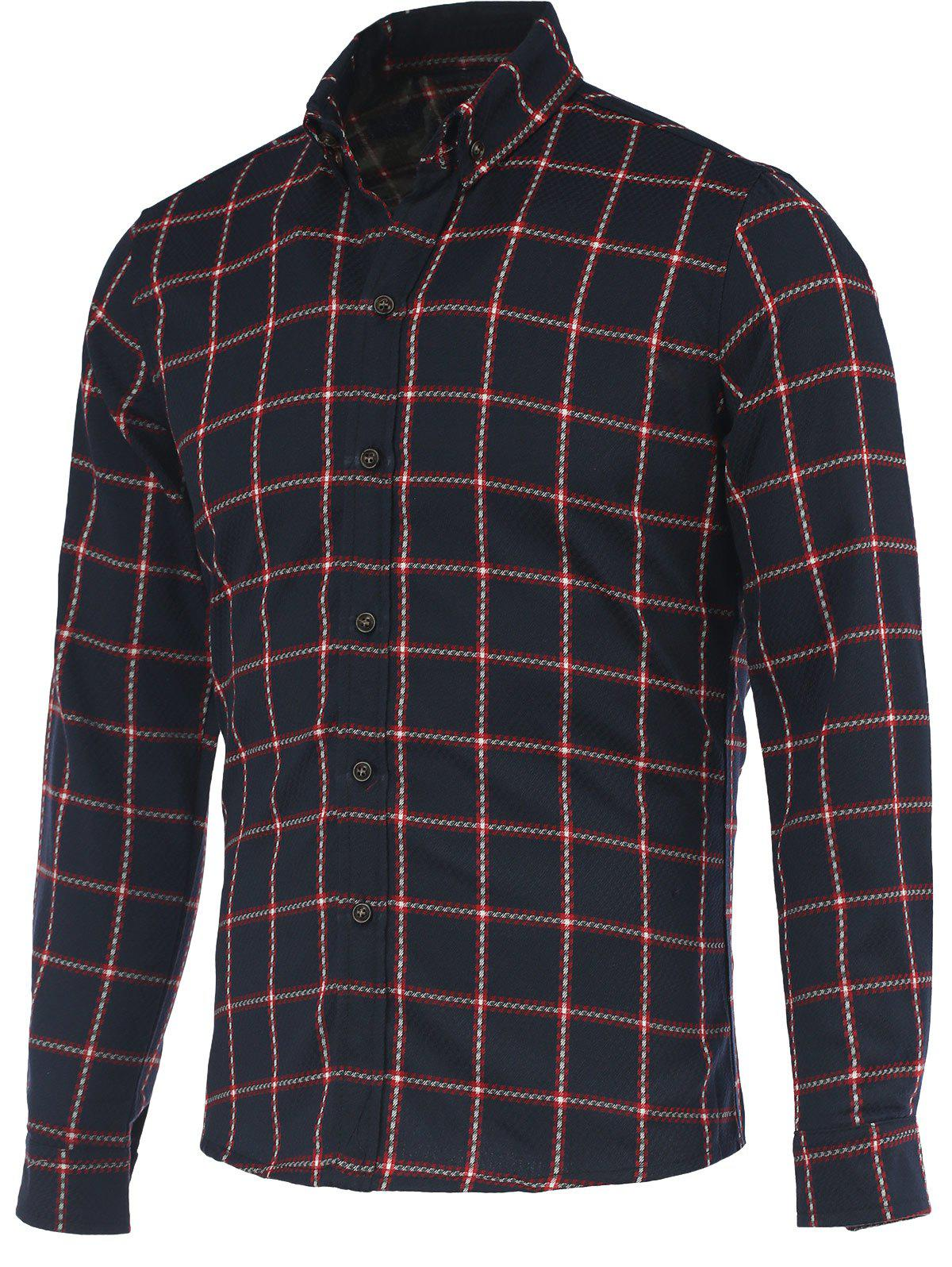 Elegant Checked Turn-Down Collar Long Sleeves Shiirt For Men - RED 5XL