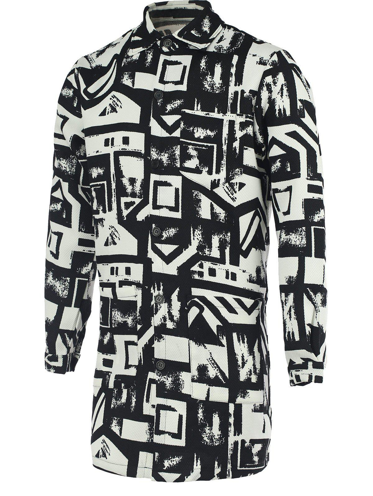 Chic Geometric Print Turn-Down Collar Long Sleeve Black and White Coat For Men - WHITE/BLACK 5XL
