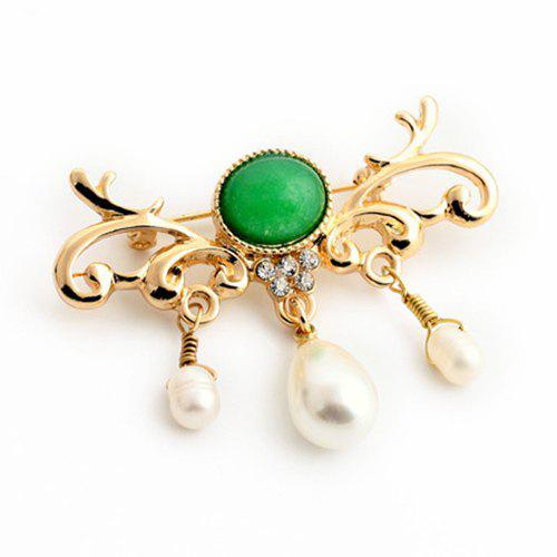 Stylish Cut Out Floral Faux Pearl Teardrop Brooch For Women - GOLDEN