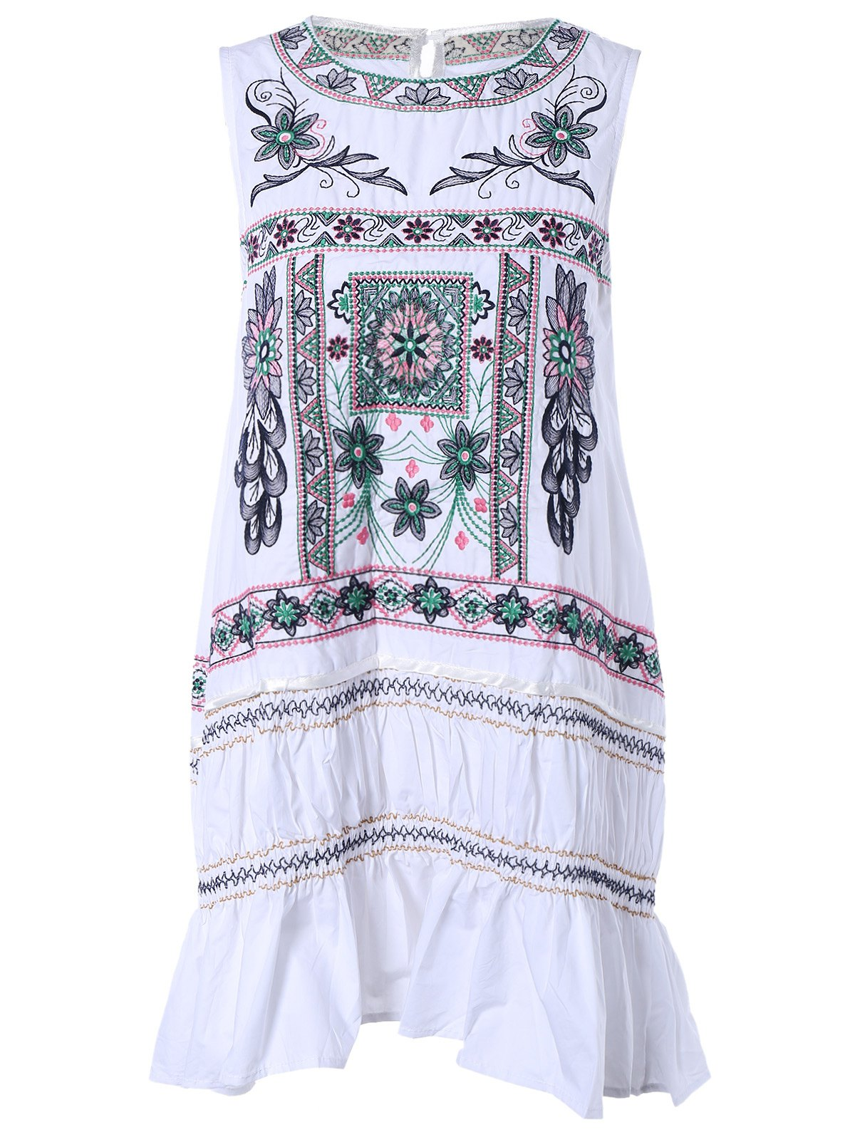 Ethnic Style Sleeveless Embroidery Print DressWomen<br><br><br>Size: M<br>Color: WHITE