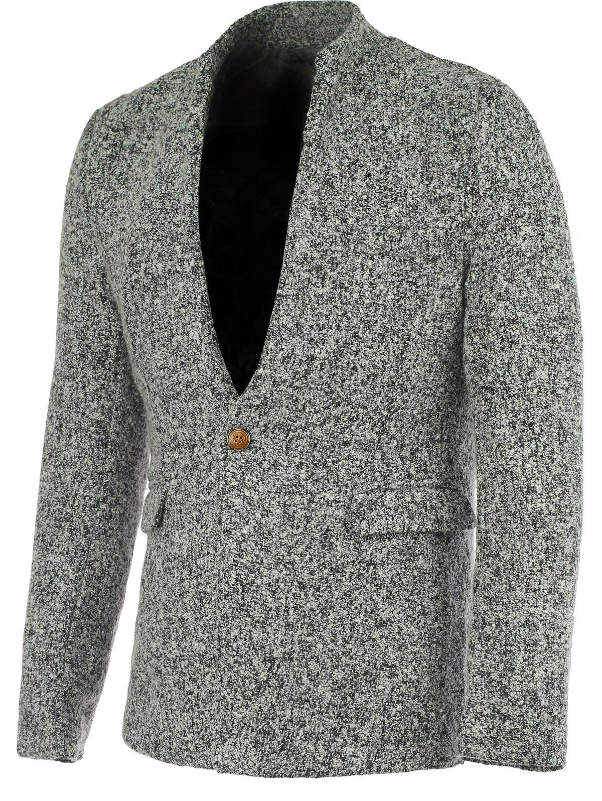 Stylish Stand Collar Long Sleeves Gray Melange Wool Blazer For Men - GRAY 2XL