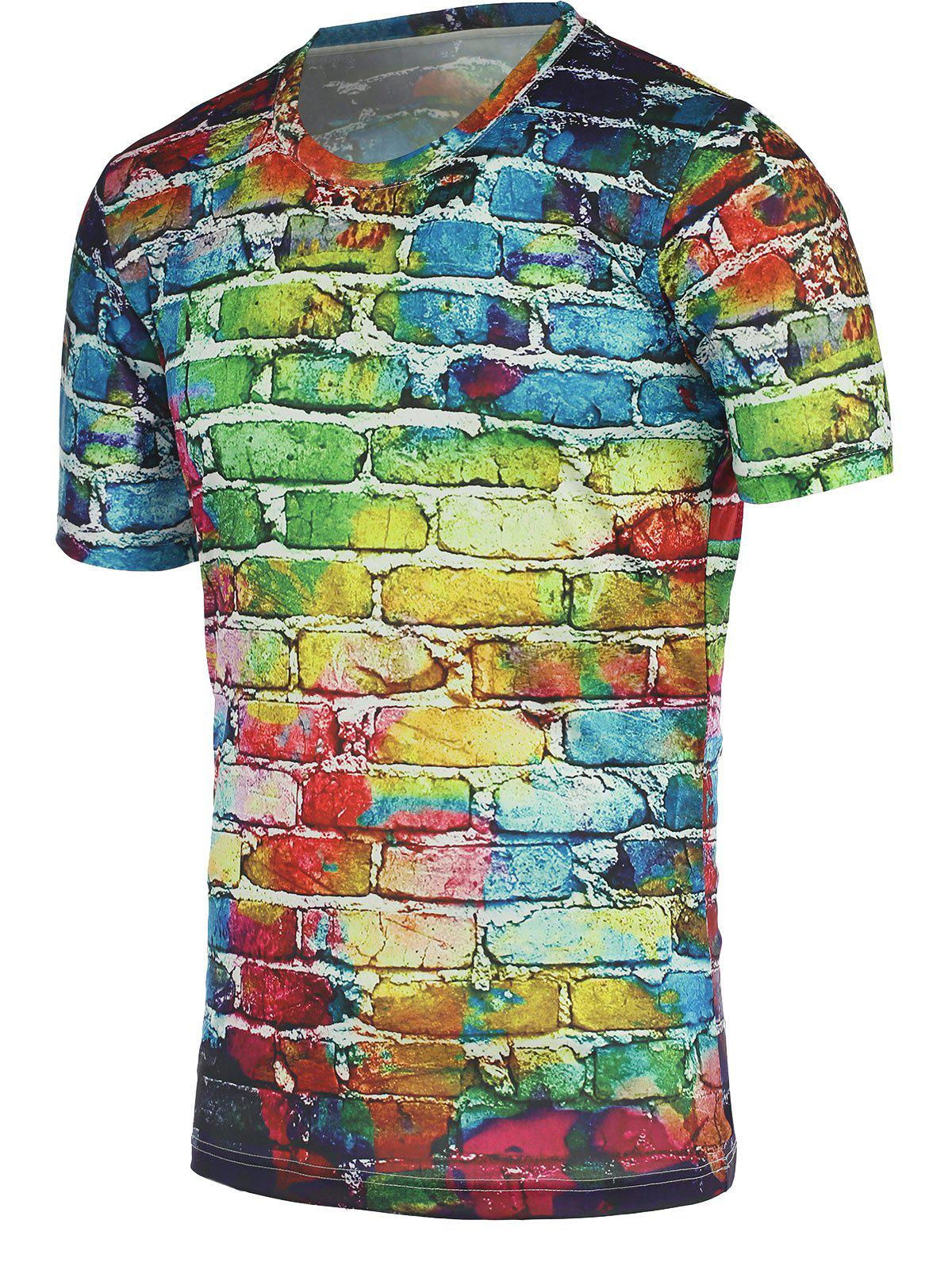 Colorful Brick Wall Print Round Neck Short Sleeves Tee For Men