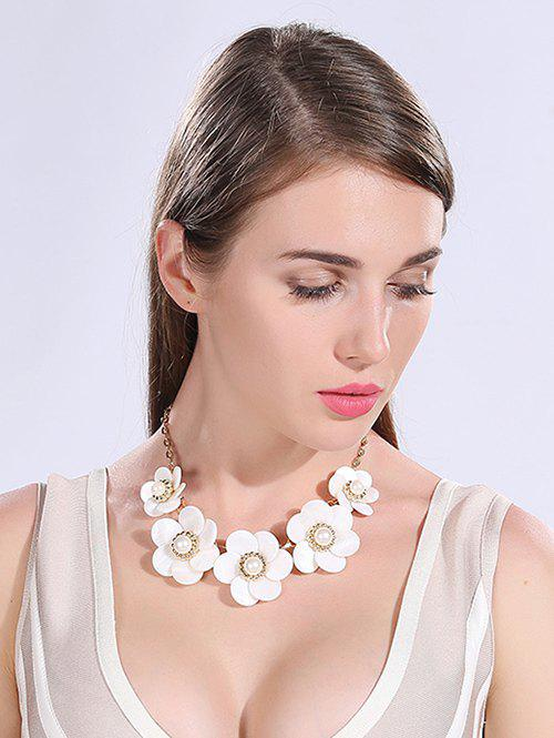Resin Faux Pearl Floral Necklace - WHITE