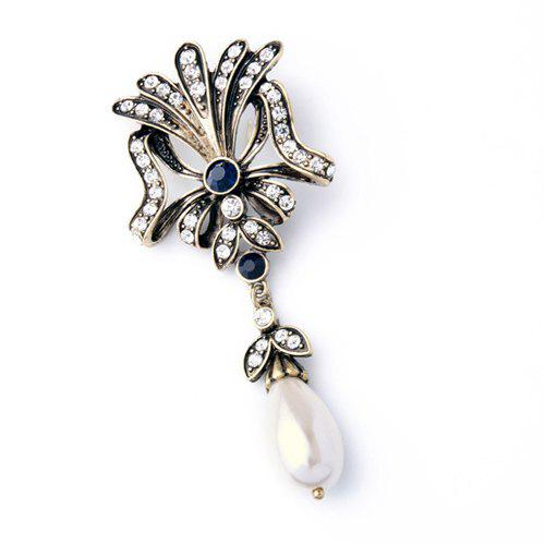 Vintage Cut Out Floral Faux Pearl Teardrop Brooch For Women - WHITE