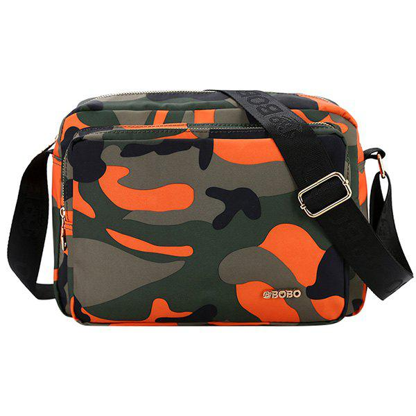Trendy Camouflage Pattern and Zip Closure Design Women's Crossbody Bag
