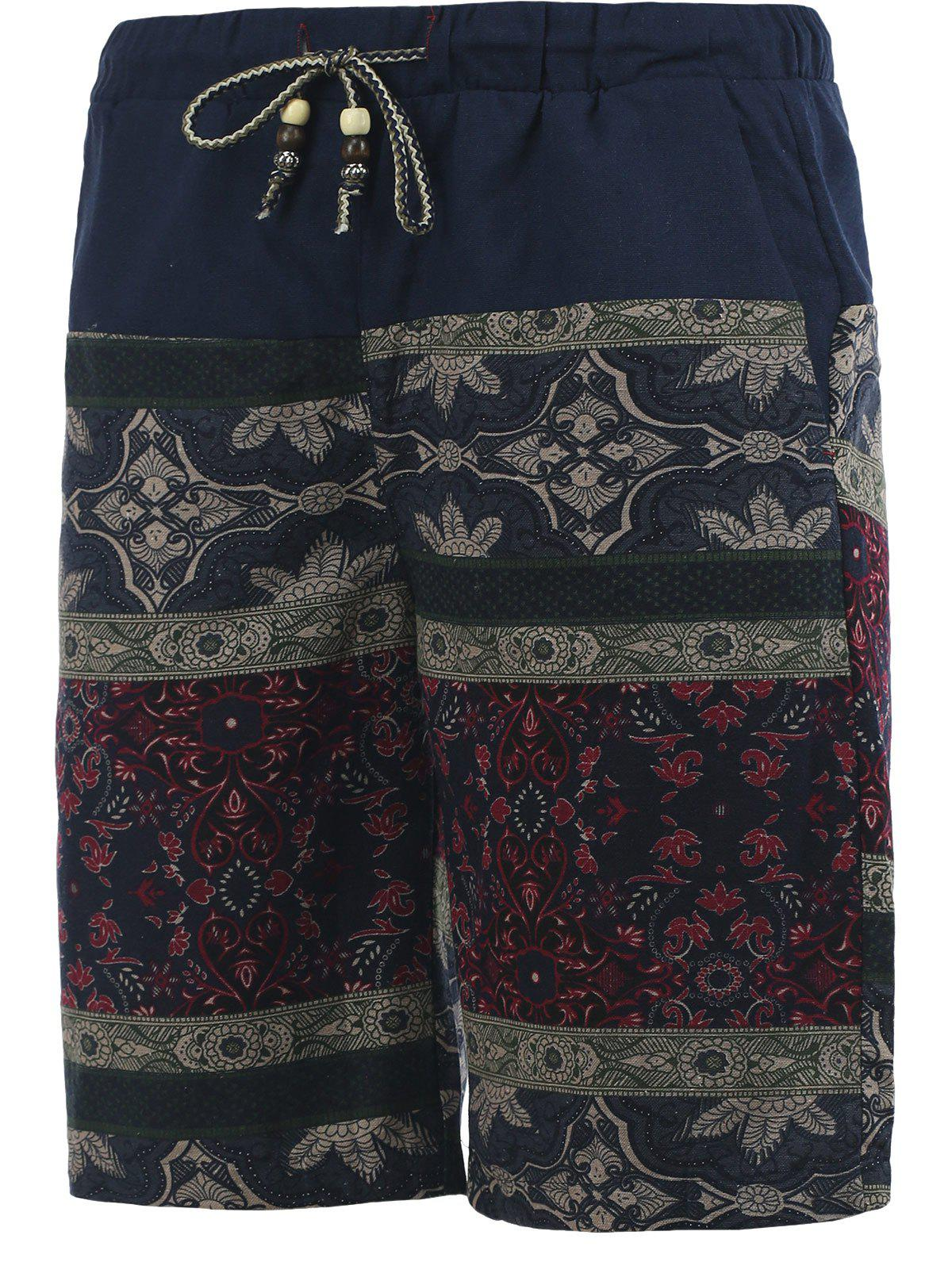 Ornate Printed Drawstring Spliced Men's Cuffed Board Shorts - COLORMIX 5XL
