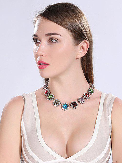 Faux Crystal Rhinestoned Necklace - COLORMIX