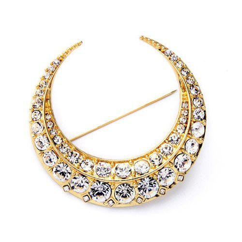 Delicate Cut Out Rhinestone Moon Brooch For Women - GOLDEN