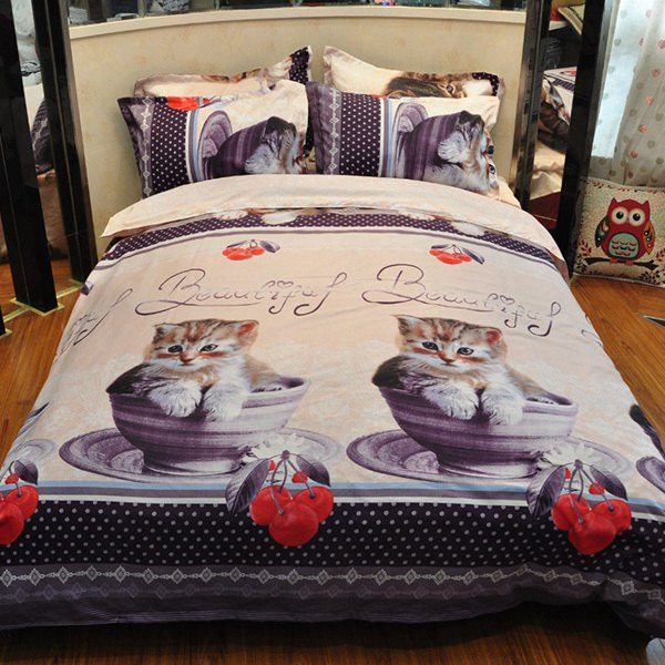 4PCS Chic Cute 3D Kittens Reactive Print Duvet Cover Bedding Set - COLORMIX FULL