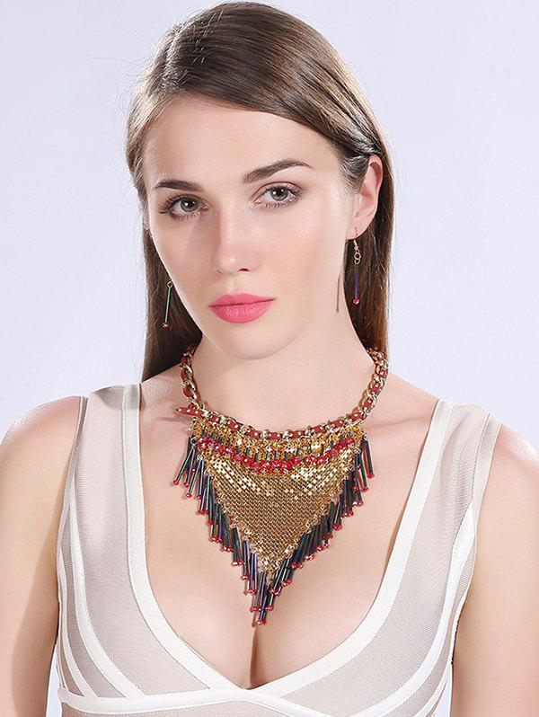 Bohemia Triangle Necklace and Earrings - GOLDEN