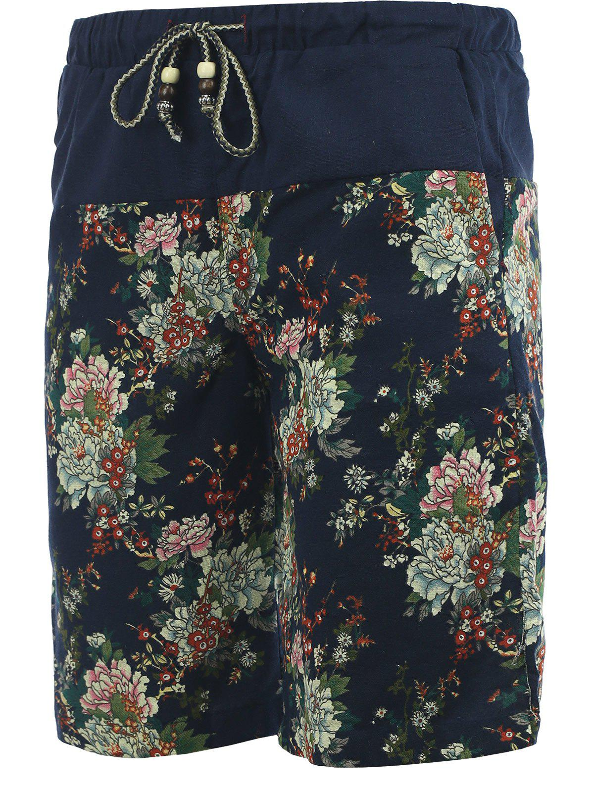 Drawstring Foral Printed Spliced Men's Cuffed Board Shorts - BLACK 5XL