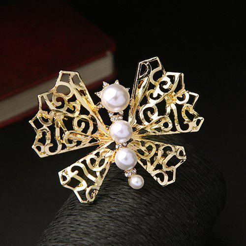 Faux Pearl Gold Plated Filigree Butterfly Brooch - GOLDEN