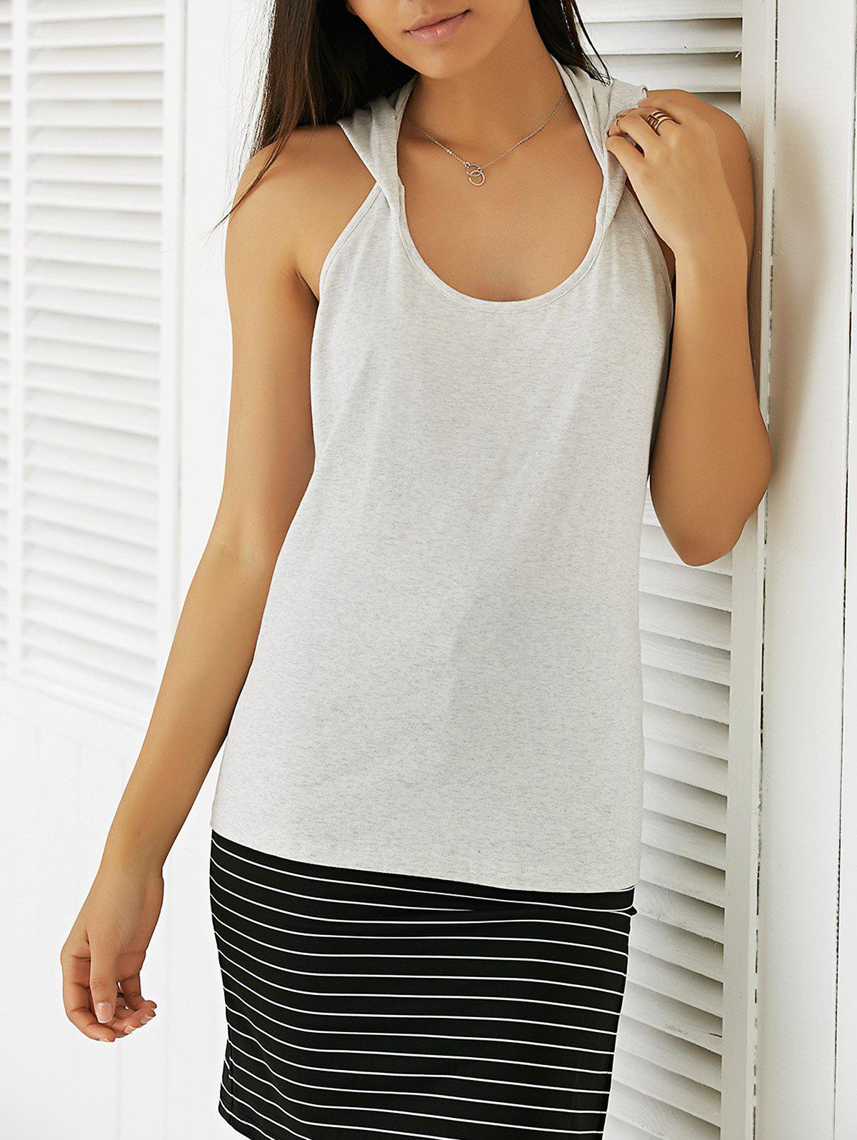 Casual Women's Slimming Round Neck Backless Top casual women s slimming round neck backless top