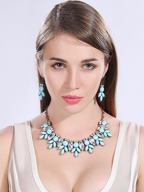 Buy Graceful Faux Crystal Resin Necklace Earrings LAKE BLUE