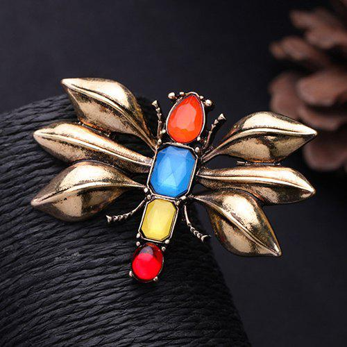 Cut Out Delicate Broche Dragonfly Multicolor Gemstone pour les femmes - Or Rose