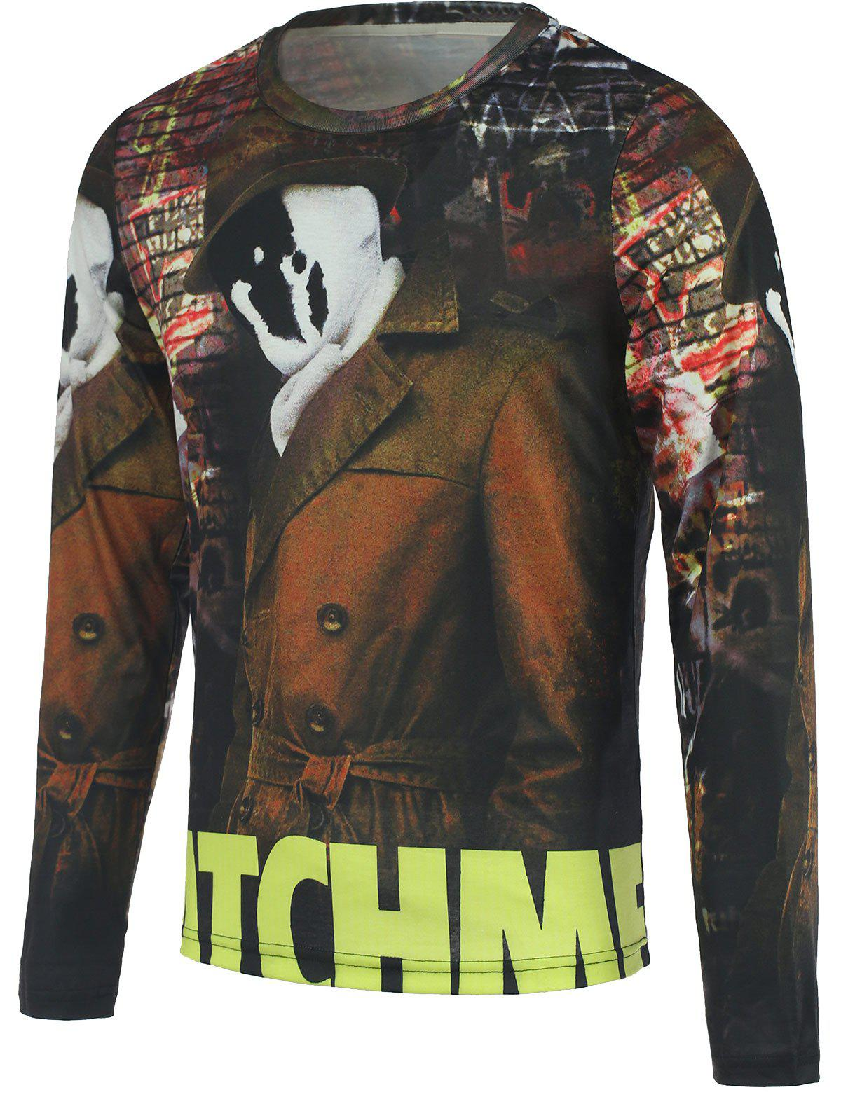 3D Ghost Printed Round Neck Men's Long Sleeve T-Shirt - COLORMIX 2XL